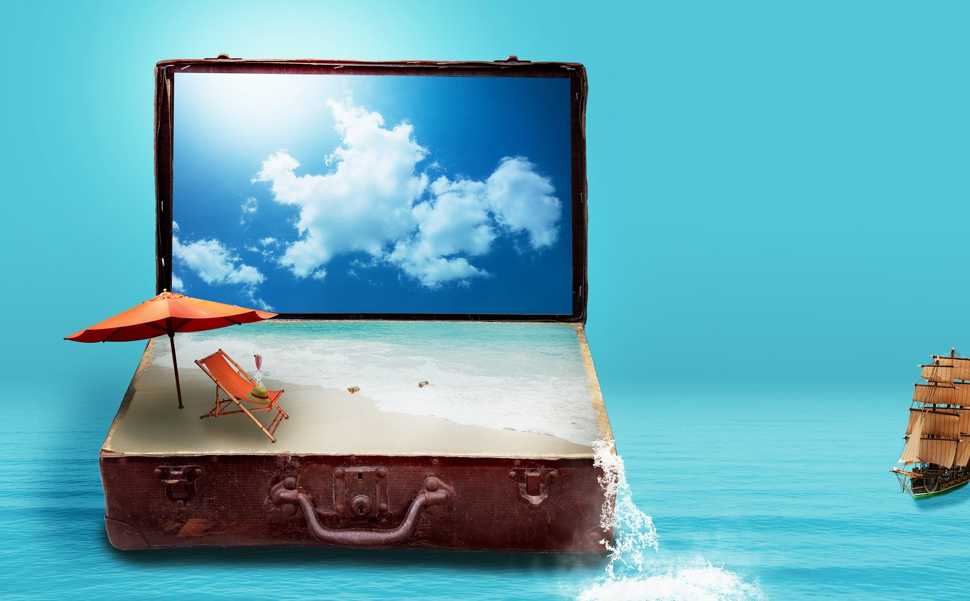 mala, praia, céu, barco